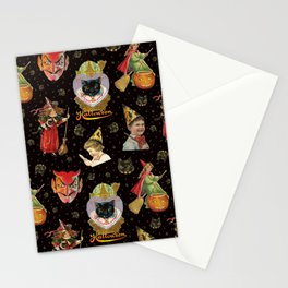 Vintage Halloween Party in Black Cat + Gold Celestial Stationery Cards