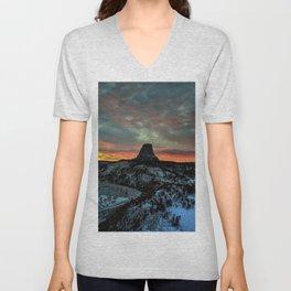 Devil's Tower, Black Hills, Wyoming Sunset Landscape Unisex V-Neck