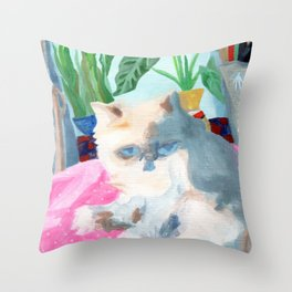Cat in the Sunshine Throw Pillow