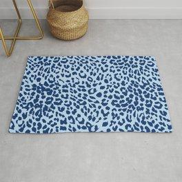 Pastel Blue Leopard Print Rug
