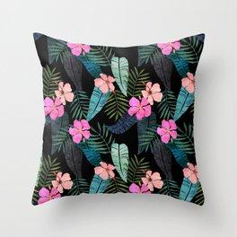 Island Goddess Tropical Black Throw Pillow