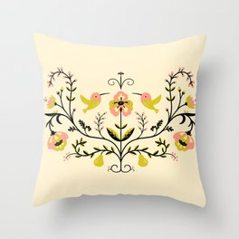 Hummingbirds and Pears Throw Pillow