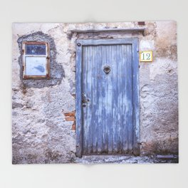 Old Blue Italian Door Throw Blanket