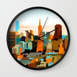 Downtown San Francisco Skyline by Jon Baran Wall Clock