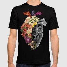 Flower Heart Spring Black MEDIUM Mens Fitted Tee