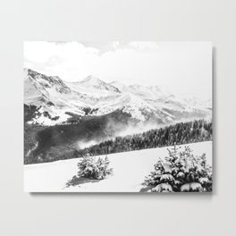 Fresh Snow Dust // Black and White Powder Day on the Mountain Metal Print