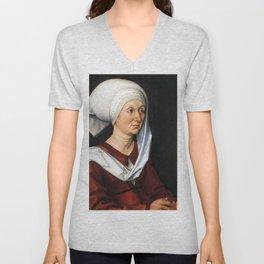 Portrait of Barbara by Albrecht Dürer Unisex V-Neck