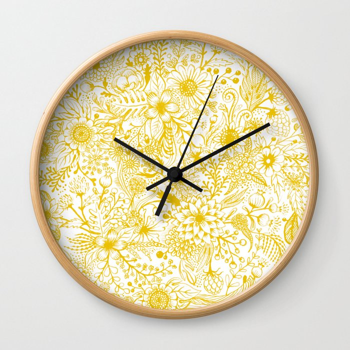 Yellow Floral Doodles Wall Clock