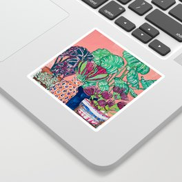 Cluster of Houseplants and Proteas on Pink Still Life Painting Sticker