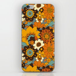 70s Retro Flower Power 60s floral Pattern Orange yellow Blue iPhone Skin