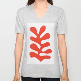 Matisse cutouts abstract drawing,matisse red leaf poster, Unisex V-Neck