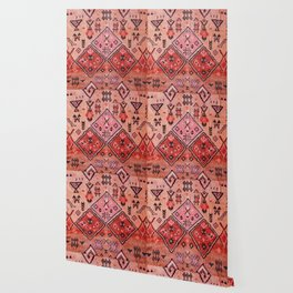 N52 - Pink & Orange Antique Oriental Traditional Moroccan Style Artwork Wallpaper