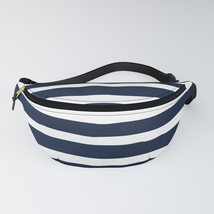 Ocean Stripes, Modern, Abstract, Navy Blue and White Fanny Pack