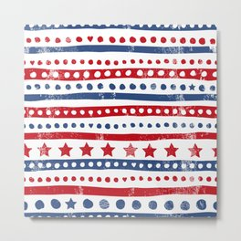 Stars and stripes American holiday patchwork pattern Metal Print