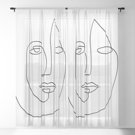 Abstract face One Line Art Sheer Curtain
