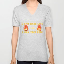 fire anime style, flame campfire comic gift Unisex V-Neck