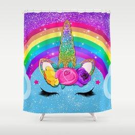 Rainbow Sparkle Unicorn Shower Curtain