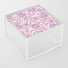 Pastel Medical Pattern - Doctor and Nurse Theme - on Pink Acrylic Box