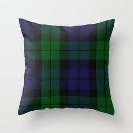 chainsaw blue & green - holiday and everyday black blue tartan black watch plaid check Throw Pillow