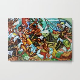 """African American Classical Masterpiece """"The Mutiny on the Amistad"""" by Hale Woodruff Metal Print"""