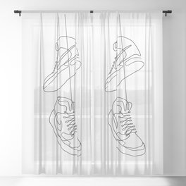Sneakers simple minimal one line art, hanging shoes branded shoes  Sheer Curtain