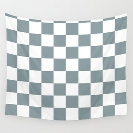 Checkered Pattern: Light Blue Wall Tapestry