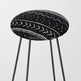 Moroccan Stripe in Black and White Counter Stool