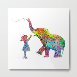 Girl And Elephant Colorful Watercolor Gift Wildlife Art Metal Print