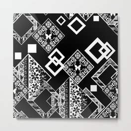 Black and white applique 2 Metal Print