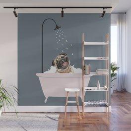 Laughing Pug Enjoying Bubble Bath Wall Mural