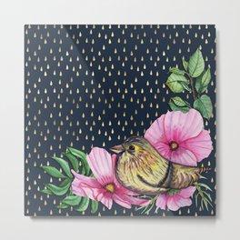Floral bird on golden raindrop pattern Metal Print