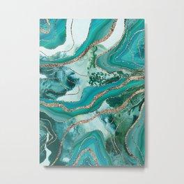 Liquid Marble Agate Glitter Glam #5 (Faux Glitter) #decor #art #society6 Metal Print