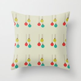 Christmas globes pattern retro colors Throw Pillow