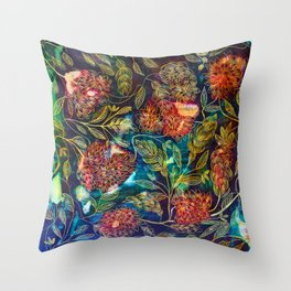 Exotic Floral Throw Pillow