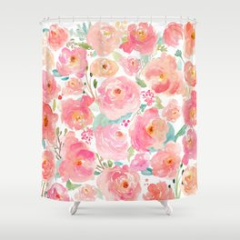 Watercolor Peonies Summer Bouquet Shower Curtain