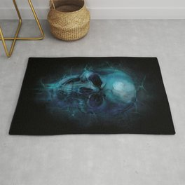 Blue Skull Watercolor Painting Blue Black Print Anatomical Art Medical Office Decor Doctor Gifts Rug