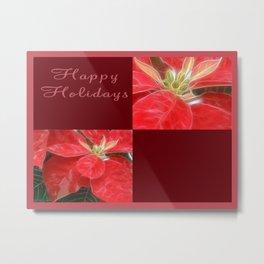 Mottled Red Poinsettia 1 Ephemeral Happy Holidays Q10F1 Metal Print