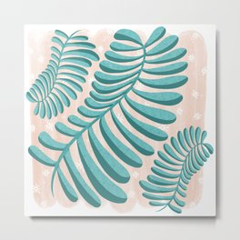 Three Happy Ferns - Green and Pink color palette  Metal Print