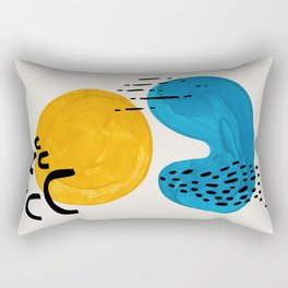Yellow Teal Blue Funky Cool Minimalist Mid Century Modern Colorful Shapes Pattern by Ejaaz Haniff Rectangular Pillow