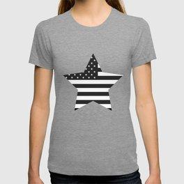 American Flag Stars and Stripes Black White T-shirt