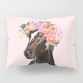 Horse with Flowers Crown in Pink Pillow Sham