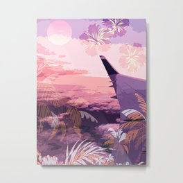 Window Seat Flying Airplane Tropical Sunsets Metal Print