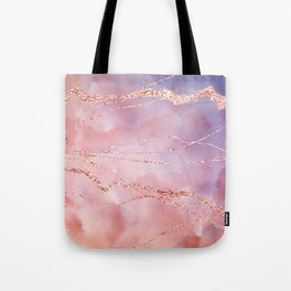 Blush and Purple Sky with Rose gold flashes Tote Bag