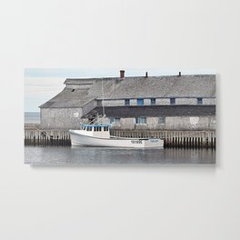 Lobster Boat and Old Building Metal Print