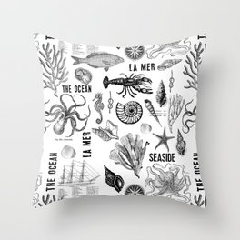 Black And White Maritime Design Throw Pillow