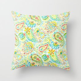 Aqua Coral Lime Floral Paisley Throw Pillow