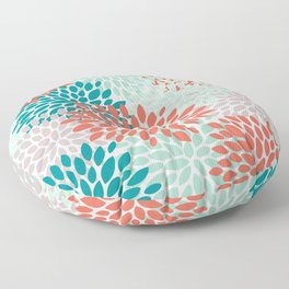 Floral Pattern, Living Coral, Teal, Mint Green, Floral Prints Floor Pillow