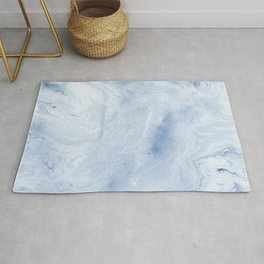 Yasuko - spilled ink japanese monoprint marble paper cell phone case with marble pattern blue pastel Rug