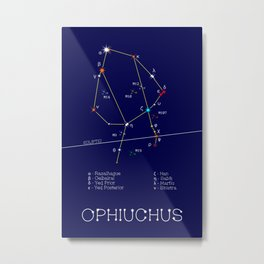 Zodiac Constellation Ophiuchus. Real Color Of The Stars Metal Print