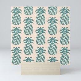 Retro Mid Century Modern Pineapple Pattern Teal and Beige Mini Art Print